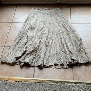 Anthro | Odille Gold Silk Maxi Peasant Skirt Sz 6